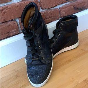 Jimmy Choo high top black glitter sneakers